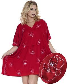 La Leela Smooth Rayon Embroidered Santa Beach Wear Robe Caftan Cover Up Top Red *** See this awesome image  : Plus size swimwear
