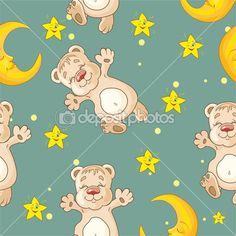 Узор с медведь и Луна и звезды — Stock Illustration #34758931