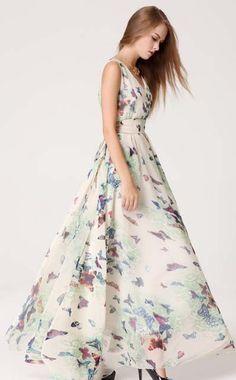 Printed Chiffon V Neck Sleeveless High Waist Maxi Dress