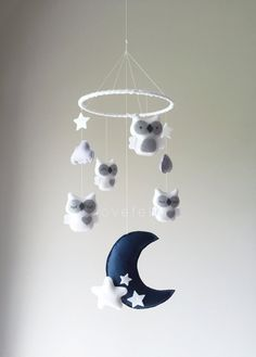 Baby Mobile - Owl mobile - white and gray mobile - baby mobile owl - mobile owls - neutral mobile on Etsy, $115.00