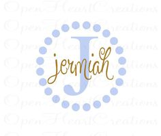 Children Name Wall Decal - Initial and Name Vinyl Wall Decal for Girl or Boy Baby Nursery Bedroom Teen 22 Circle FN0042. $35.00, via Etsy.