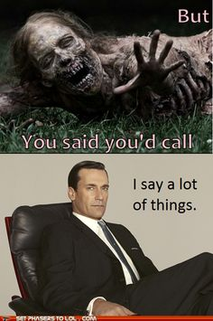 I would watch this crossover. #walking dead #mad men #amc #zombies #jon hamm