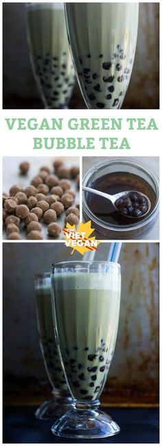 Vegan Green Tea Bubble Tea The Viet Vegan DIY bubble tea, much cheaper, super easy, and you can sweeten to your taste! Smoothies, Smoothie Drinks, Smoothie Recipes, Yummy Drinks, Healthy Drinks, Yummy Food, Vegan Foods, Vegan Snacks, Vegan Sweets