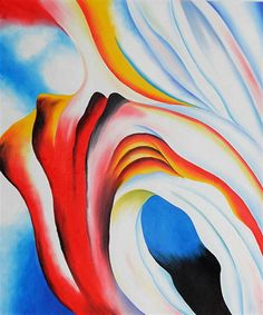 Music Pink and Blue, 1918 by Georgia O'Keeffe. Abstract Art, Precisionism. abstract