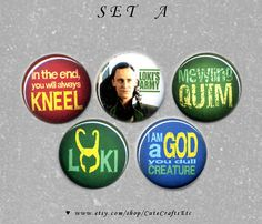 5 Set Loki Laufeyson Buttons or Magnets 1-inch (SET A) on Etsy, $4.00