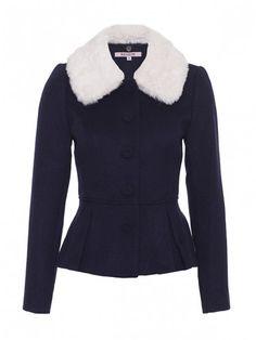 Gracie Lou Peplum Jacket in Midnight & Cream Jackets Online, Shop Jackets, Cute Coats, Peplum Jacket, Faux Fur Collar, Cotton Sweater, Style Me, Blazer, Sweaters