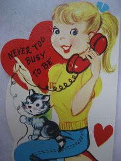 Vintage Valentine Card Blonde Girl Rotary Dial Phone Capris Flats Kittycat | eBay