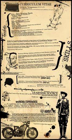 Free Resume Templates for Creative Minds Kostenlose Vintage Curriculum Vitae Design Art Resume, Visual Resume, Resume Cv, Resume Tips, Sample Resume, Graphic Design Resume, Cv Design, Graphic Art, Cv Original Design