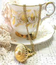 Joan Rivers Vintage Pendant Necklace - Gold Fob with Pearl - Vintage Necklaces by SwankyJewels on Etsy