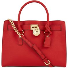 Michael Kors Hamilton Saffiano Leather Tote ($400) ❤ liked on Polyvore featuring bags, handbags, tote bags, purses, bolsas, accessories, red, zip tote, red tote bag and michael kors tote