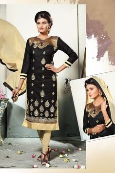 THANKAR BLACK AND CREAM EMBROIDERED COTTON DRESS MATEIRIAL Online Shopping  For Women c12f24afdc9b8