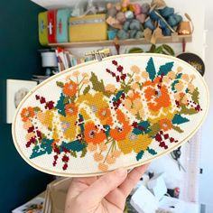We love this floral 'Maker' hoop, made using DMC embroidery threads to cross-stitch by @junebuganddarlin ✨ Geek Cross Stitch, Modern Cross Stitch, Cross Stitch Charts, Cross Stitch Designs, Cross Stitch Patterns, Embroidery Thread, Cross Stitch Embroidery, Subversive Cross Stitches, Cross Stitch Freebies