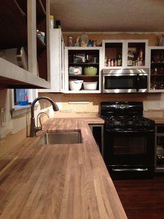 diy walnut butcher block counter  kitchen sneak peek