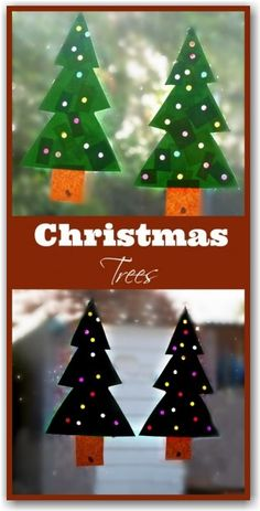 Beautiful Christmas tree sun catchers which can be used to decorate a window or as Christmas cards.