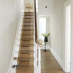 {Decor SOS: Battered Stairs Seek Kind and Caring Update} Sand back the old paint and leave the stairs rustic and worn.