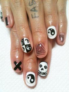 Ying-yang, hipster triangle, Misfits nails.