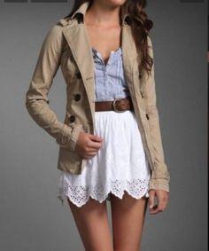 Tan trench coat white skirt blue top