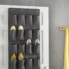 Grey Over The Door Shoe Bag in Closet | Crate and Barrel