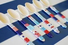 Want to add some pizzazz to mealtime? Have your kids add some washi tape to their silverware. Easy to apply —and remove —it can be changed to help celebrate different holidays and events. Source: Paisley Petal Events