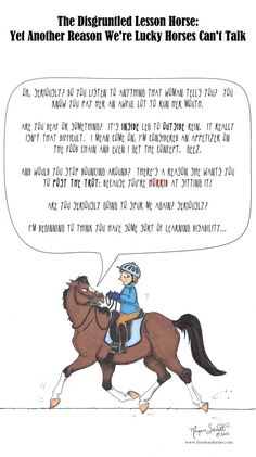 "Cartoonist Morgane Schmidt pays tribute to ""The Disgruntled Lesson Horse."" Courtesy of HorseNation.com"