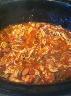 Jambalaya in the Crock Pot- rice is separate so others can eat this with the rice