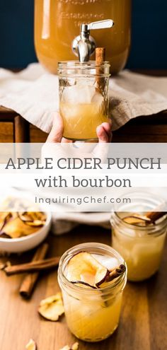 Easy Game Day Food Apple Cider Punch with Bourbon – This festive apple cider punch with ginger beer, apple cider and bourbon can be made in batches to serve to a crowd or as a cocktail. Definitely a favorite in my household! via Inquiring Chef Bourbon Apple Cider, Apple Cider Cocktail, Festive Cocktails, Bourbon Cocktails, Cocktail Recipes, Fall Drinks, Alcohol Drink Recipes, Punch Recipes, Chef Recipes