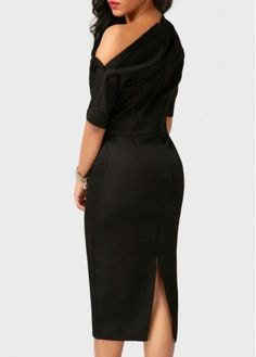 Black High Waist Back Slit Skew Neck Dress