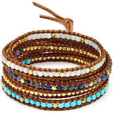 Chan Luu Turquoise Beaded Wrap Bracelet ($245) ❤ liked on Polyvore featuring jewelry, bracelets, accessories, pulsera, chan luu jewelry, bohemian jewellery, wrap bracelet, turquoise stone jewelry and party jewelry