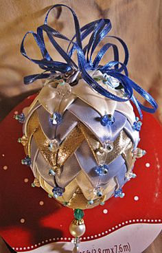 Christmas Ornament 90'd Pleated Fabric Beads by WindDanceStudio, $17.00