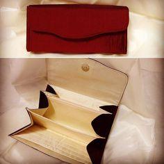 My latest purse.  #ncw #necessaryclutchwallet #patchworkpinup #burgundy #cream #silk