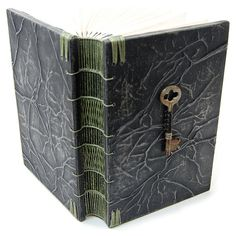 Steampunk Handmade Wooden Journal with Antique Skeleton Key ❤ liked on Polyvore featuring home, home decor, stationery and pictures