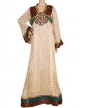 "aljalabiya.com ""Klorice"" Chiffon jacquard kaftan with hand embroidery (N-11482-9)  $169.00"