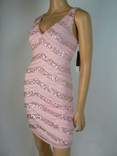 $99 Hailey Logan by Adrianna Papell Pink Sequin Beaded Sheath Dress 9 10 A845 #HaileyLogan #Sheath #Cocktail