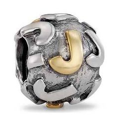 Pandora Letter J Charm 14k Gold and Sterling Silver