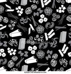 Clip Art - tipi, di, pasta, cibo, nero, grigio, modello, eps10 k20287768 - Cerca Clipart, Poster illustrazioni, Disegni e Immagini grafiche vettoriali EPS - k20287768.eps