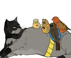 Robins and bCatman Superhero Family, Bat Family, I Am Batman, Batman Robin, Hq Marvel, Marvel Dc Comics, Batfamily Funny, Baby Avengers, Robin Dc