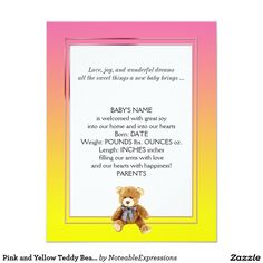 Green and Blue Teddy Bear Baby Announcement Baby Girl Birth Announcement, Birth Announcements, Blue Teddy Bear, Wonderful Dream, Create Your Own Invitations, Zazzle Invitations, Baby Names, New Baby Products, Pink