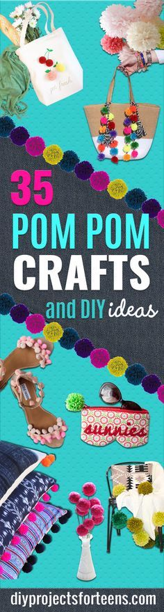 DIY Crafts with Pom Poms - Fun Yarn Pom Pom Crafts Ideas. Garlands, Rug and Hat Tutorials, Easy Pom Pom Projects for Your Room Decor and Gifts diyprojectsfortee. Diy Room Decor For Teens, Diy Crafts For Teen Girls, Diy For Teens, Diy For Kids, Tween Girls, Art Projects For Adults, Arts And Crafts Projects, Sewing Projects, Yarn Projects