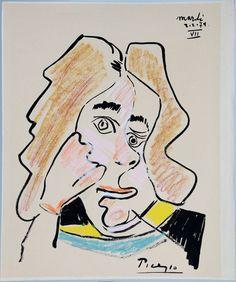 "Pablo Picasso ""Tete de Mousquetaire VII"" 2-2-1971 Gouache cm 44,8x37,5  FOR SALE, Private collection giancarlo.rossini@me.com"