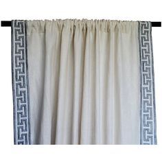 Linen Curtain Drape In Greek Key Gray Embroidery Ivory Greece Curtain... (5,460 INR) via Polyvore featuring home, home decor, window treatments, curtains, embroidered curtains, linen curtain, rod pocket curtain, tab top curtain, window curtains and linen window curtains