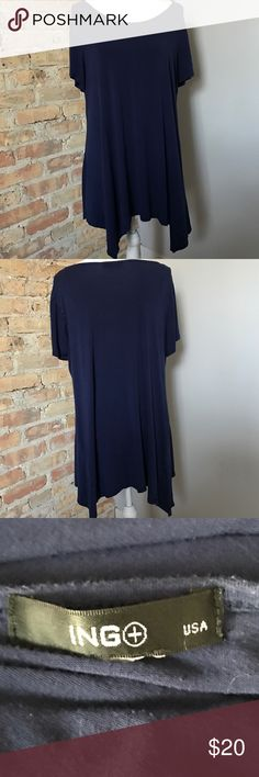 """ING swing tunic shark bite bottom blue 2x ING Blue swing tunic with shark bite bottom. 2x bust 24"""" across. Some pilling in fabric, but still in good condition, no rips or tears. Smoke free pet friendly home. ING Tops Tunics"""