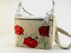 Canvas embroidered bag  Waterproof Foldover Bag Cotton by FediyS