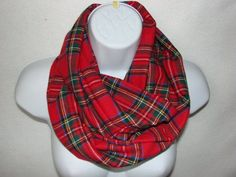 Red Plaid Infinity Scarf Flannel Infinity Scarf by OtiliaBoutique, $25.00