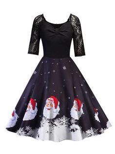 Women Elegant Off Shoulder Elk Print Stripe Dresses Xmas Evening Party Swing Dress Flare Dress Christmas Vintage Dress
