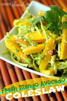 Fresh Mango Avocado Coleslaw - We had some leftover mango from another dinner this week so I made up this delicious mango avocado coleslaw!  This is such a flavorful and fresh summer salad, we brought a big bowl of this to a barbecue and it was a huge hit.  By the way, this does make a pretty big bowl so feel free to half the recipe if you are making it for just a few people.