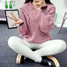 2015 fall fashion ladies knitted size loose college style thin cotton Crewneck sweater jacket dress