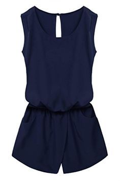 a9c2a6dd4139 ACEVOG Women Clubwear Sleeveless Romper Playsuit Jumpsuit W  Pockets Navy  Blue S ACEVOG http