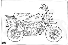 Honda Z50 Minibike Colouring Page