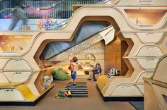 The Honeycomb reading nook in the Sandbox activity area. NY Hall of Science design lab