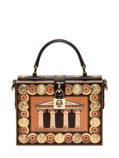 Dolce & Gabbana Brown Wood Inlay Top Handle